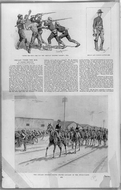 """Giving the butt the way the """"regular"""" infantry tackles a mob / / Frederic Remington. One of Capt. Capron's battery-men / Frederic Remington. The Chicago strikes--United States Cavalry in the stock-yards"""