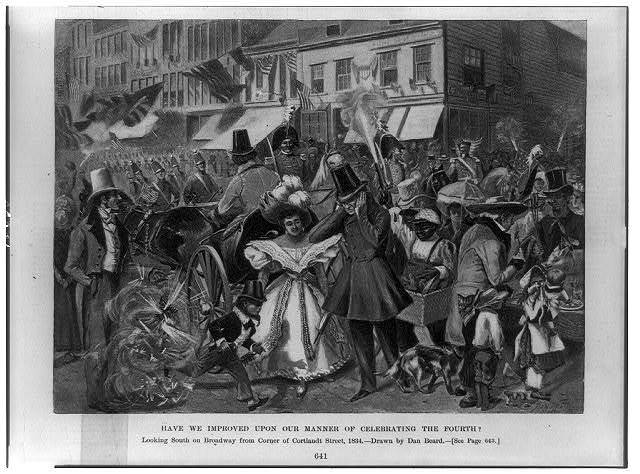 Have we improved upon our manner of celebrating the Fourth? looking south on Broadway from corner of Cortlandt Street, 1834 / / drawn by Dan Beard.