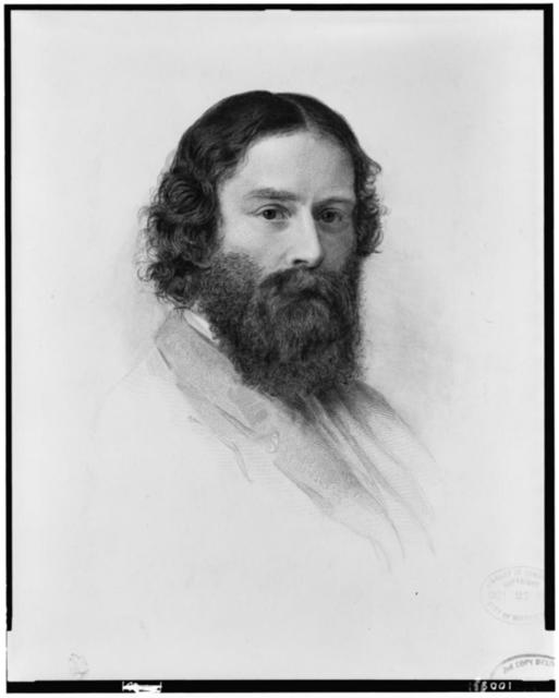 [James Russell Lowell, head-and-shoulders portrait, facing right] / engraved by J.A.J. Wilcox, from the original crayon in the possession of Charles Eliot Norton, drawn by S.W. Rowse in 1855.