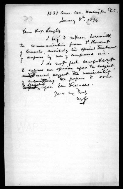 Letter from Alexander Graham Bell to Samuel P. Langley, January 8, 1894