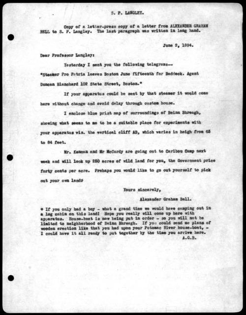 Letter from Alexander Graham Bell to Samuel P. Langley, June 2, 1894