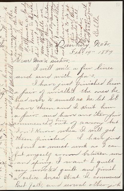 Letter from Estella Stilgebouer to Laura I. Oblinger, Sadie Oblinger, Nettie Oblinger, Lillie Oblinger, Maggie Oblinger, February 14, 1894