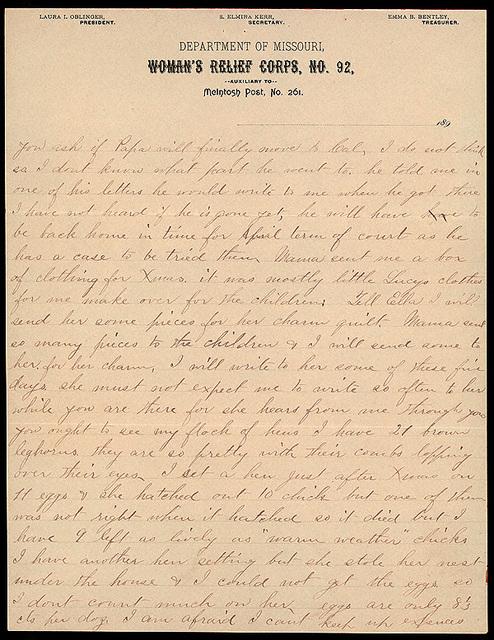 Letter from Laura I. Oblinger to Uriah W. Oblinger, January 22, 1894