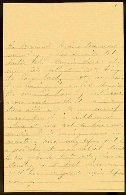 Letter from Laura I. Oblinger to Uriah W. Oblinger, July 15, 1894