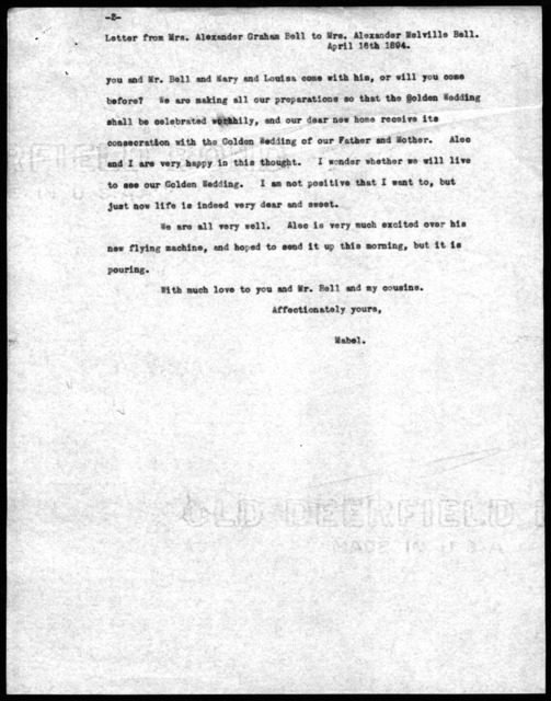 Letter from Mabel Hubbard Bell to Eliza Symonds Bell, April 16, 1894