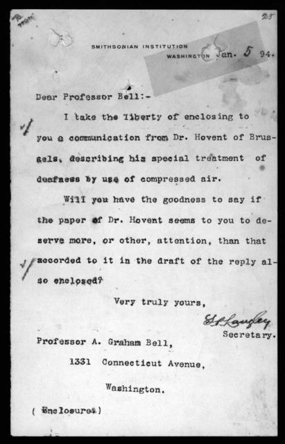 Letter from Samuel P. Langley to Alexander Graham Bell, January 5, 1894