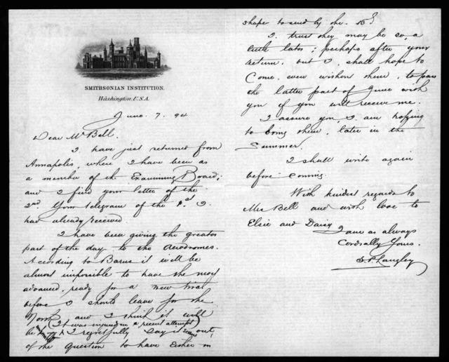 Letter from Samuel P. Langley to Alexander Graham Bell, June 7, 1894