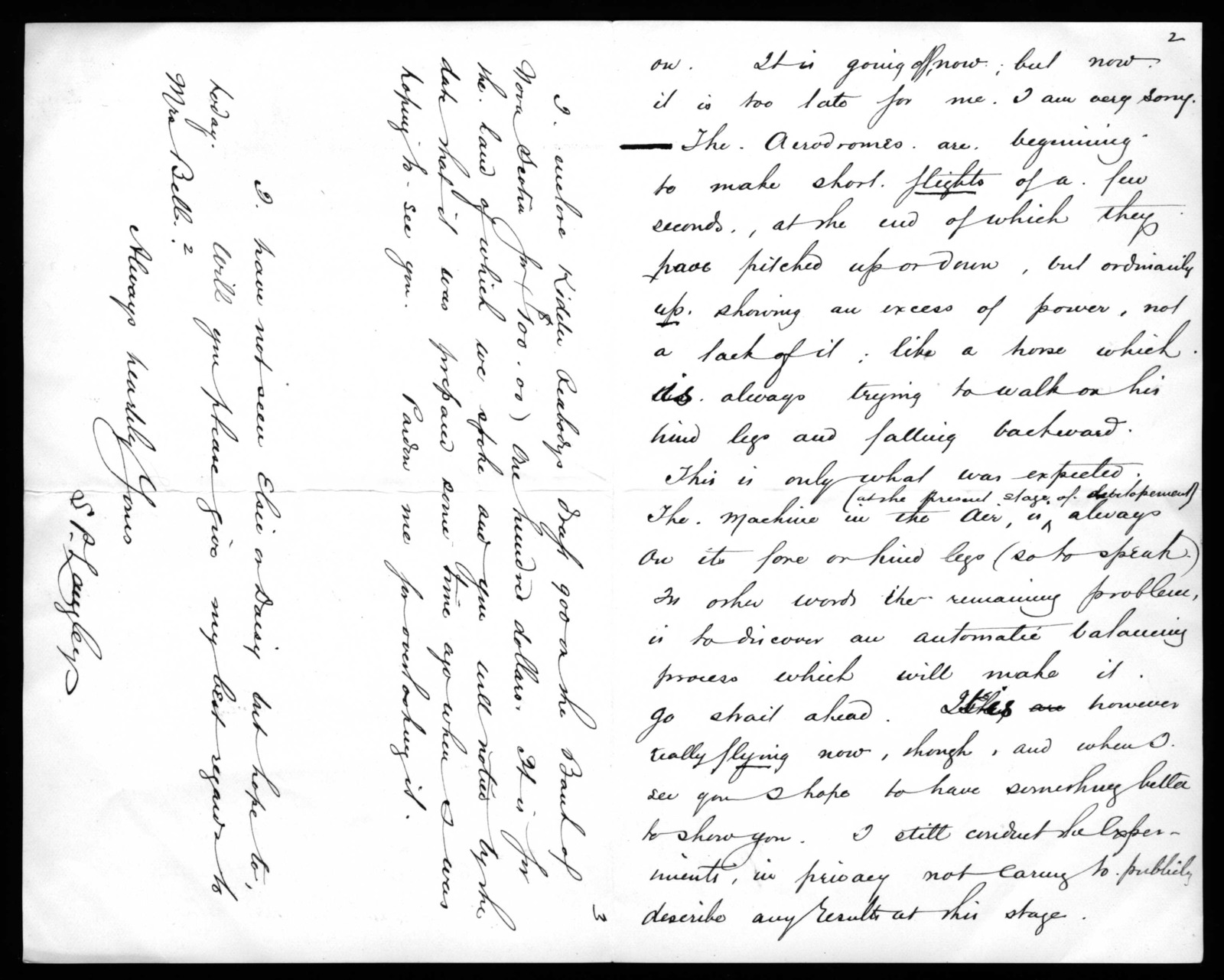 Letter from Samuel P. Langley to Alexander Graham Bell, October 28, 1894