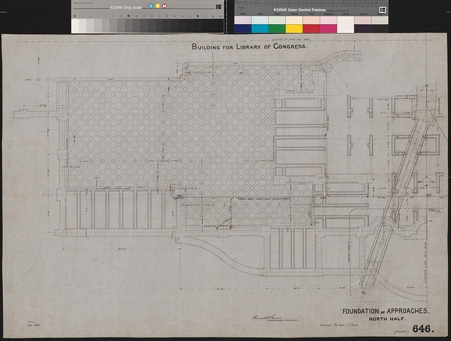 [Library of Congress, Washington, D.C. Neptune Plaza. Foundation of approaches. North half. Plan]