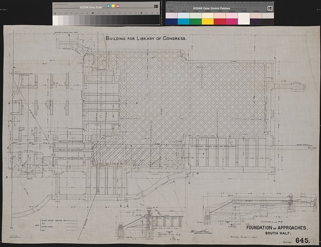 [Library of Congress, Washington, D.C. Neptune Plaza. Foundation of approaches. South half. Plan]