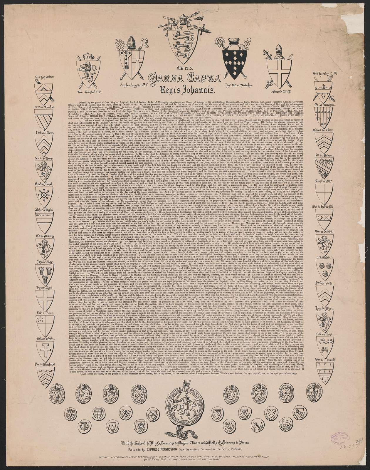 Magna Carta, regis johannis, AD 1215