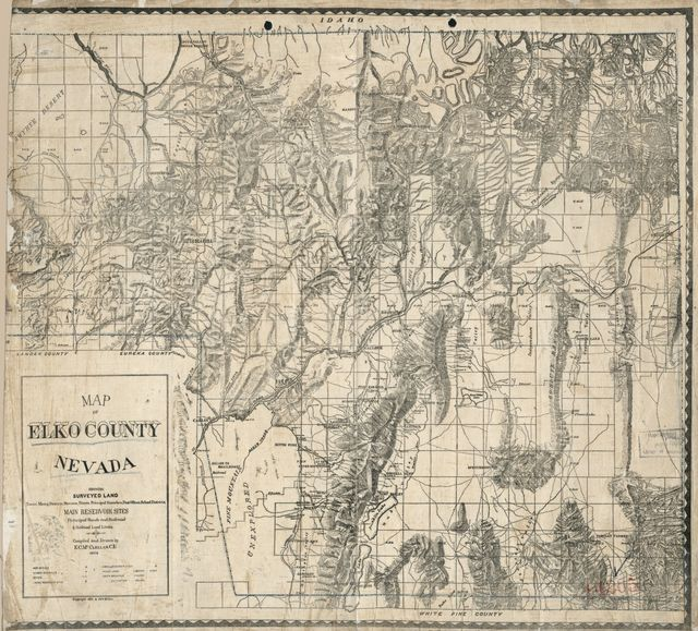 Map of Elko County, Nevada : showing: surveyed land, towns, mining districts, streams, rivers, principal ranches, post offices, school districts, main reservoir sites, principal roads and railroad & railroad land limits. /