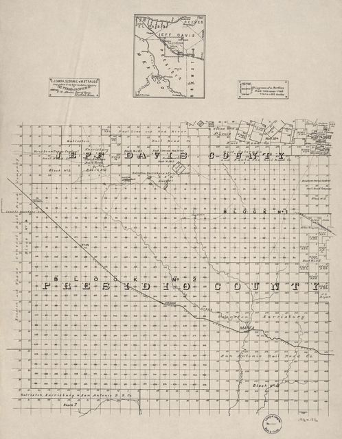[Map of portions of Jeff Davis County and Presidio County, Texas].