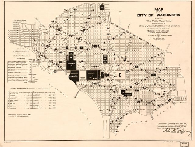 Map of the city of Washington showing the public reservations under control of Office of Public Buildings and Grounds /