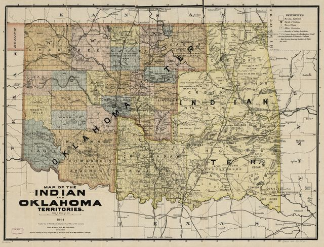 Map of the Indian and Oklahoma territories, 1894; compiled from the official records of the General Land Office and other sources.