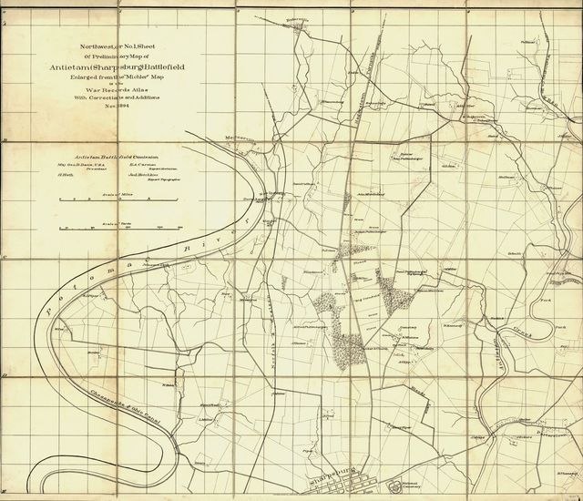 "Northwest, or no. 1, sheet of preliminary map of Antietam (Sharpsburg) battlefield. Enlarged from the ""Michler"" map of the war records atlas with corrections and additions"