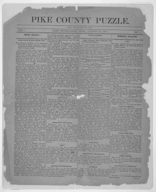 Pike County puzzle. Camp Interlaken, Penn. August 28, 1894.