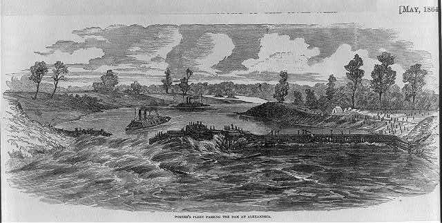 Porter's fleet passing the dam at Alexandria