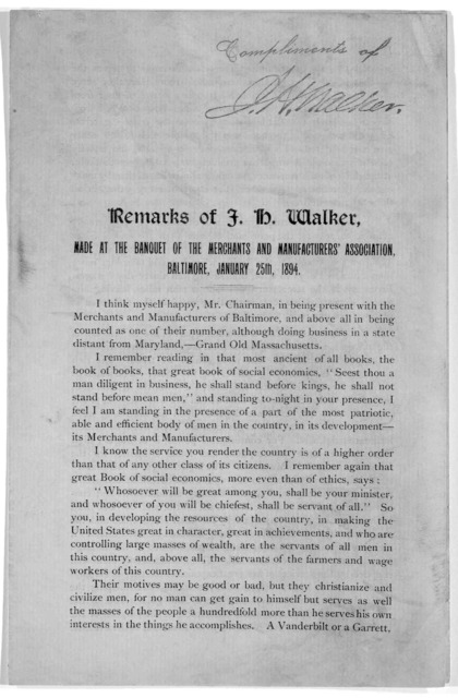 Remarks of F. H. Walker, made at the banquet of the merchants and manufacturers' association Baltimore. January 25th, 1894.