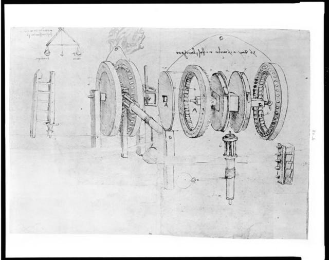 [Reproduction of page from notebook of Leonardo da Vinci showing a geared device assembled and disassembled]