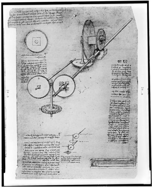 [Reproduction of page from notebook of Leonardo da Vinci showing the operation of a mechanical wing]
