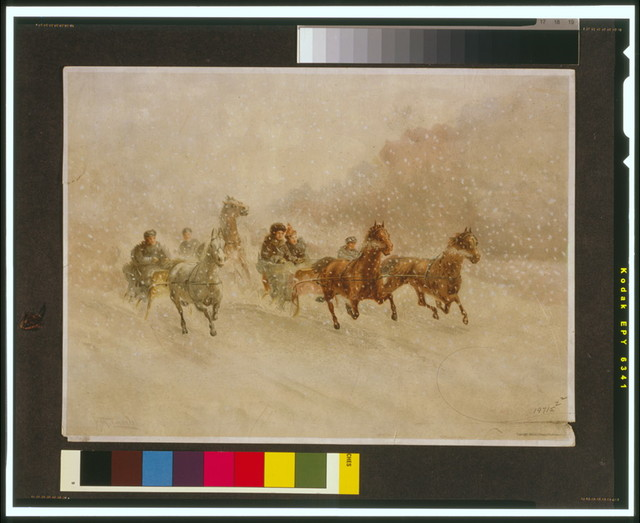[Sleighs pulled by horses running through snow] / F.M. Lamb.