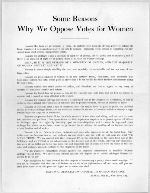 Some reasons why we oppose votes for women ... National association opposed to woman suffrage. New York City [1894].