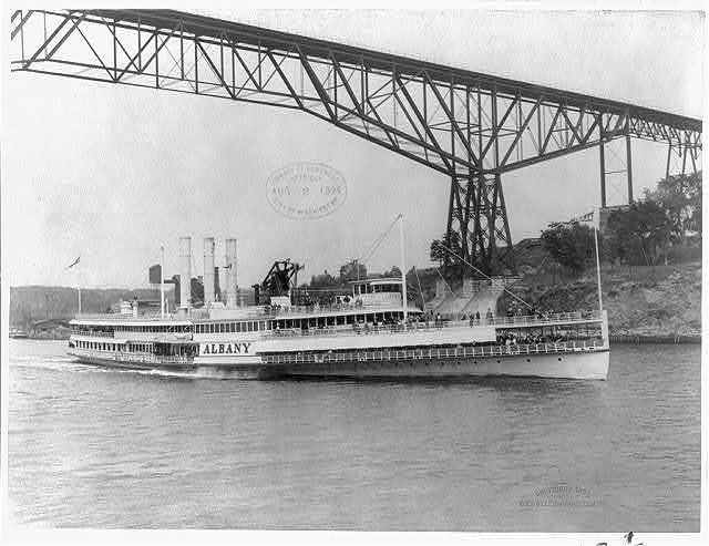 [Steamboats: ALBANY - with bow to right and in foregrd. on Hudson R.; bridge in background]
