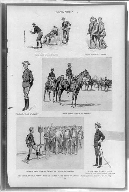 The great railway strikes--with the United States troops in Chicago / drawn by Frederic Remington.