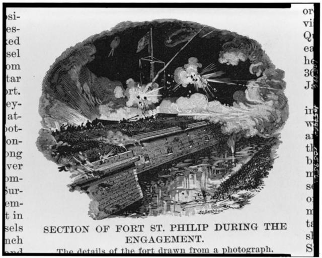 The Opening of the lower Mississippi and the capture of New Orleans. Section of Fort St. Philip during the engagement / A.L., sc. ; J.O. Davidson.