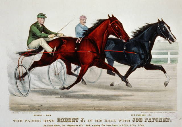 The pacing King Robert J. in his race with Joe Patchen: at Terre Haute, Ind., September 6th, 1894, winning the three heats in 2:03 3/4, 2:02 1/2, 2:04 3/4