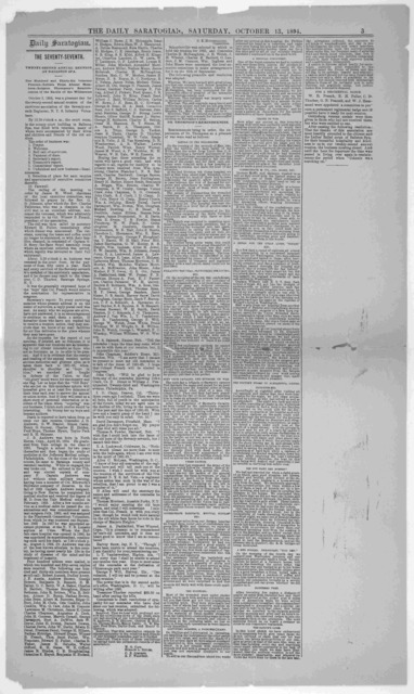 The Seventy-seventh. Twenty-second annual reunion at Ballston Spa. [1894].