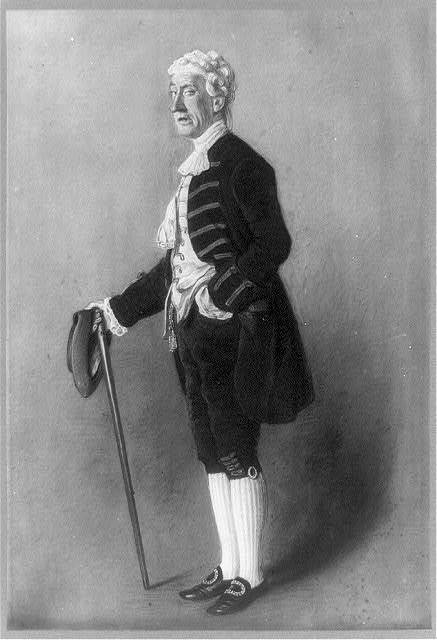 [William Davidge as Sir Anthony Absolute in The Rivals, full-length portrait, standing, facing left, holding hat and walking stick]