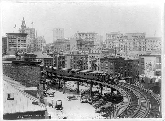 A curve on the elevated railroad, N.Y. / A. Loeffler, Tompkinsville, N.Y.