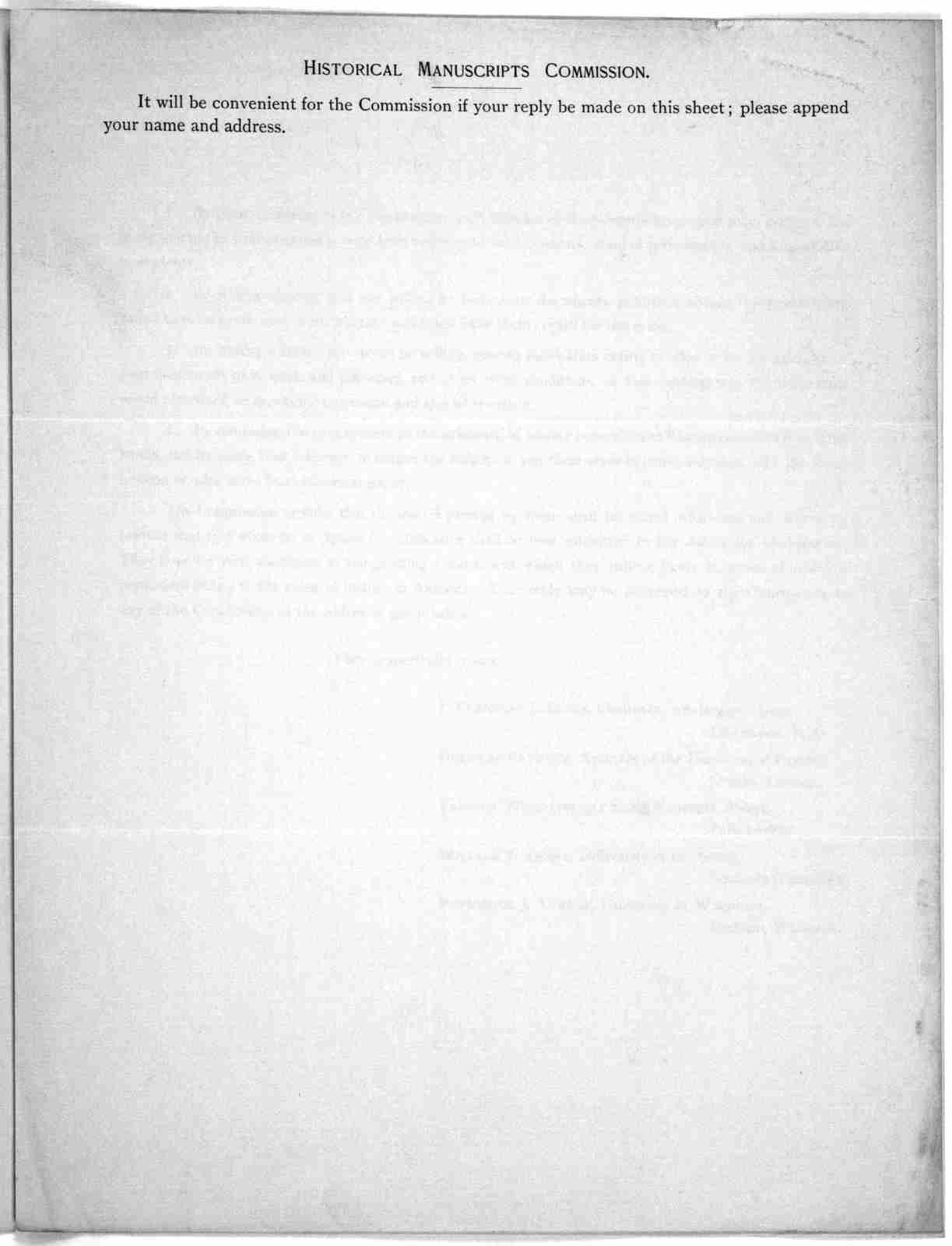 American historical association. Historical manuscripts commission. Circular to private individuals owning or having knowledge of unpublished documents of historical value. [n. p. n. d.].