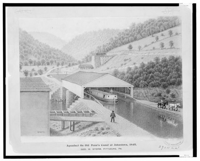 Aquaduct [sic] on old Penn'a Canal at Johnstown, 1845 / Storm ; Geo. W. Storm, Pittsburg, Pa.
