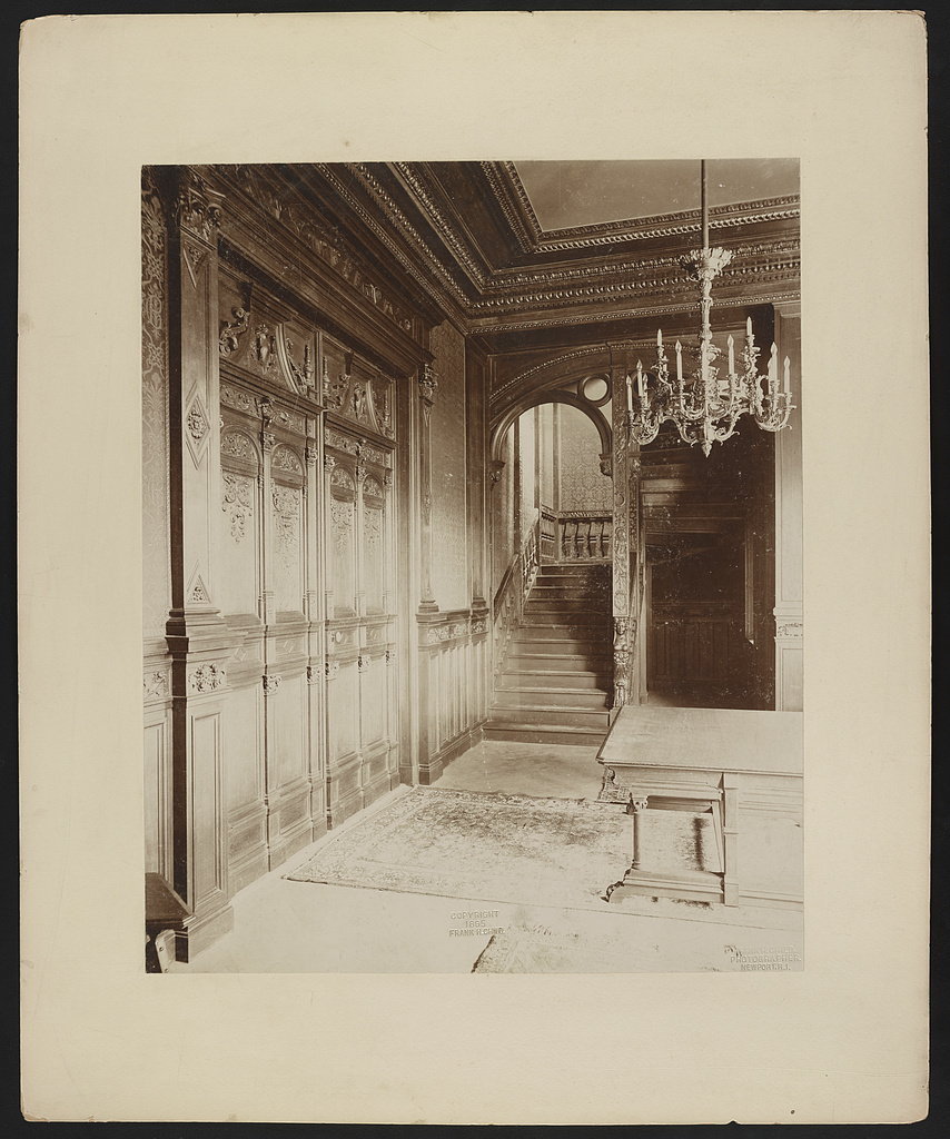 """Belcourt,"" residence of O.H.P. Belmont Esq., Newport, R.I., 1891, staircase hall / Frank H. Child, photographer, Newport, R.I."