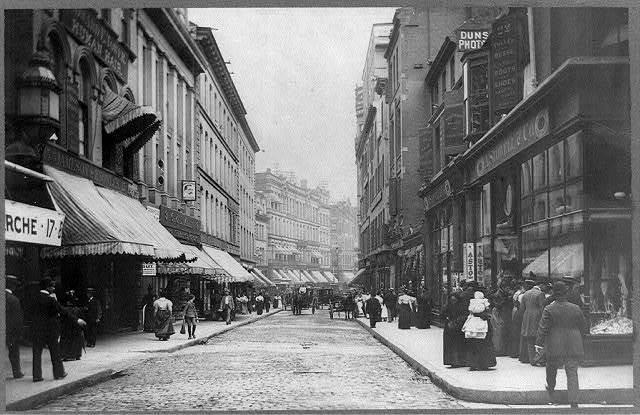 [Boston, Mass., Winter Street; stores include Jameson & Knowles and Geo. E. Allen]