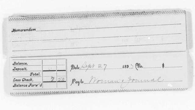 Check Stubs (Helen Pitts Douglass), 1895-1897