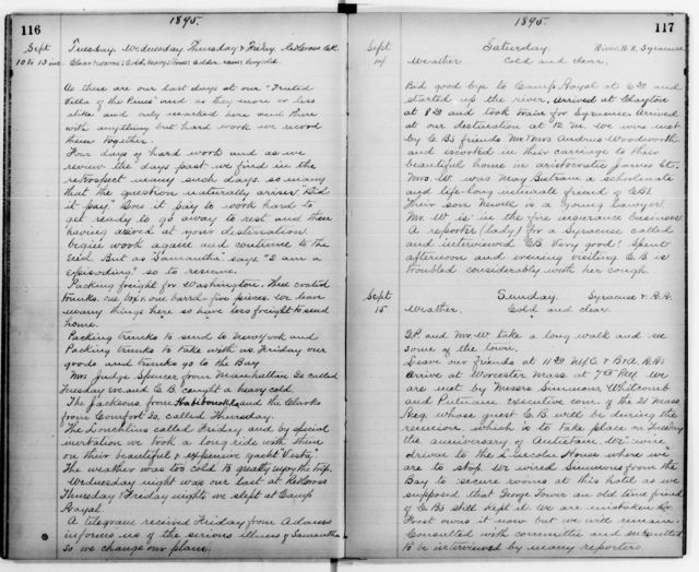 Clara Barton Papers: Diaries and Journals: Diarists other than Barton; Staff diaries; 1895, Jan. 28-1896, Jan. 1 (no. 3)