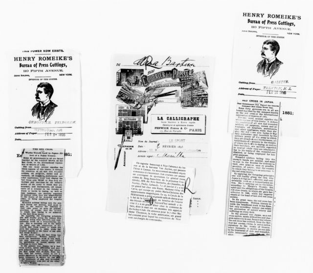Clara Barton Papers: Red Cross File, 1863-1957; American National Red Cross, 1878-1957; Newspaper clippings; 1895-1957