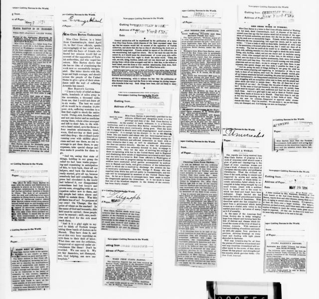 Clara Barton Papers: Red Cross File, 1863-1957; American National Red Cross, 1878-1957; Relief operations; Armenia and Turkey; Newspaper clippings; 1895, Dec.-1896, Aug.