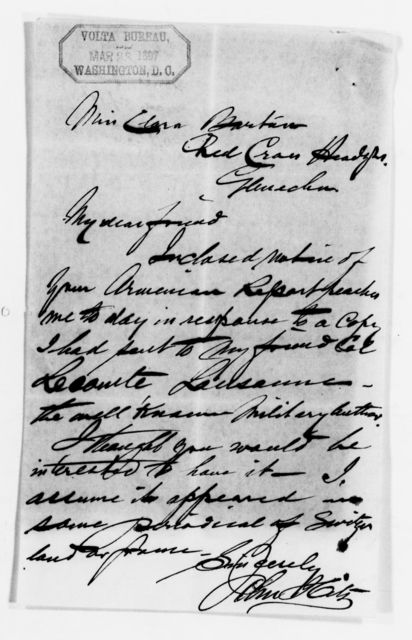 Clara Barton Papers: Red Cross File, 1863-1957; American National Red Cross, 1878-1957; Relief operations; Armenia and Turkey; Correspondence, 1895-1902, undated