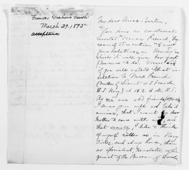 Clara Barton Papers: Subject File, 1861-1952; Reception for Barton's relatives, letters of acknowledgment, 1895
