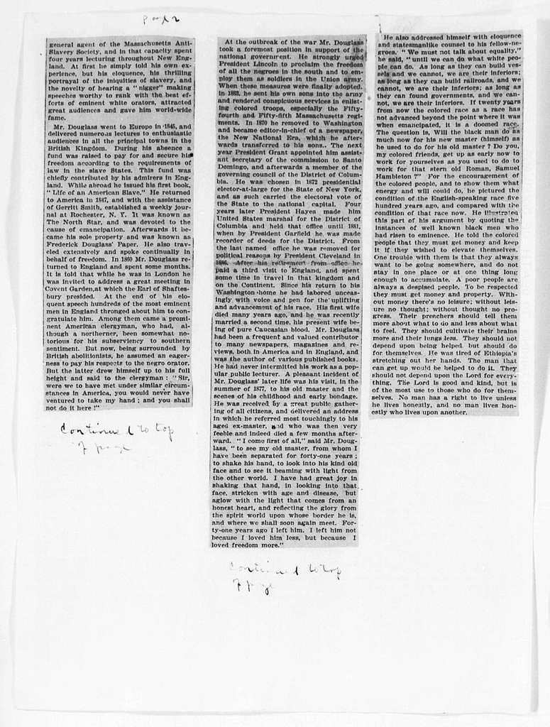 Douglass, Frederick (Death) - Folder 19 of 34