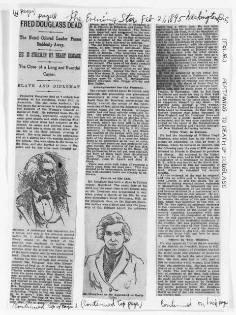 Douglass, Frederick (Death) - Folder 32 of 34