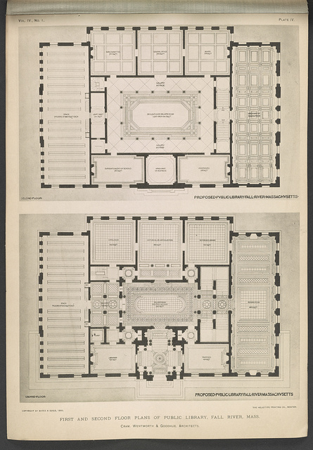 First and second floor plans of public library, Fall River, Mass. / Cram, Wentworth & Goodhue, architects.