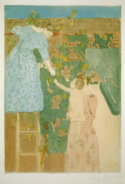 Gathering fruit / Mary Cassatt.