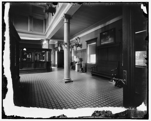 [Hiram Walker & Sons, office interior with cashier's counter, Walkerville, Ont.]