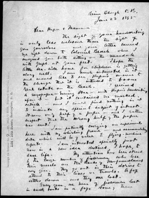 Letter from Alexander Graham Bell to Alexander Melville Bell and Eliza Symonds Bell, June 23, 1895